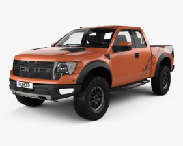 3D model of Ford F-150 SVT Raptor Super Cab with HQ interior 2009