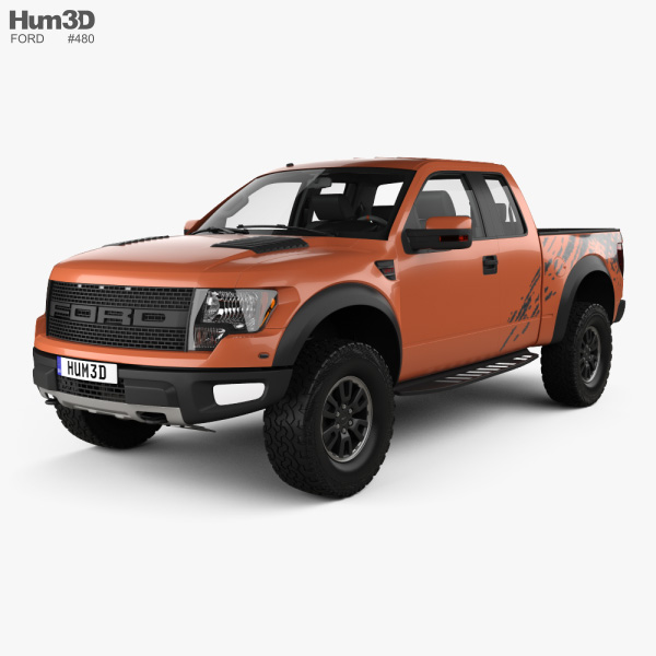 Ford F-150 SVT Raptor Super Cab with HQ interior 2009 3D model