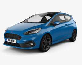 3D model of Ford Fiesta 3-door ST 2019