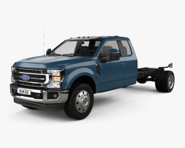 3D model of Ford F-550 Super Duty Super Cab Chassis Lariat 2020