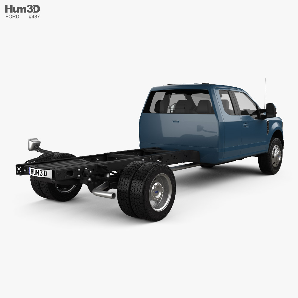Ford F-550 Super Duty Super Cab Chassis Lariat 2020 3d model back view