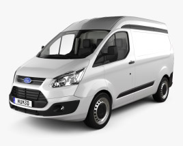 3D model of Ford Transit Custom Panel Van L1H2 with HQ interior 2012
