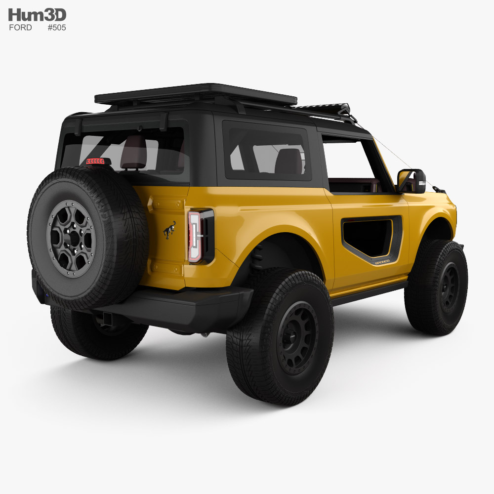 Ford Bronco Preproduction 2-door with HQ interior 2020 3d model back view