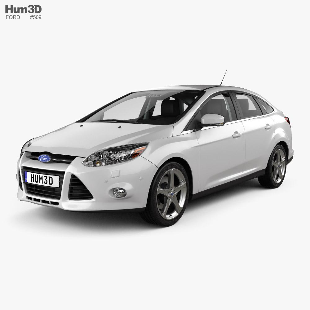 Ford Focus sedan with HQ interior 2011 3D model