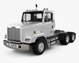 3D model of Freightliner FLC112 Tractor Truck 3-axle 1987