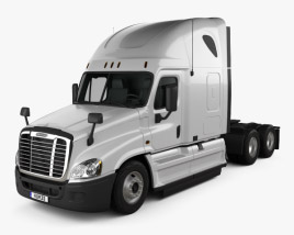 3D model of Freightliner Cascadia Sleeper Cab Tractor Truck 2007