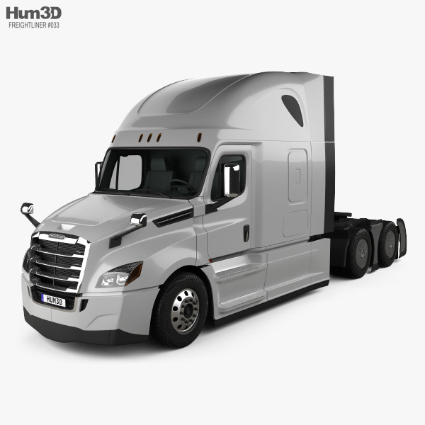 3D model of Freightliner Cascadia 126BBC 72 Sleeper Cab Raised Roof AeroX Tractor Truck 2018