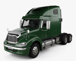 3D model of Freightliner Columbia Sleeper Cab Raised Roof Tractor Truck 2009