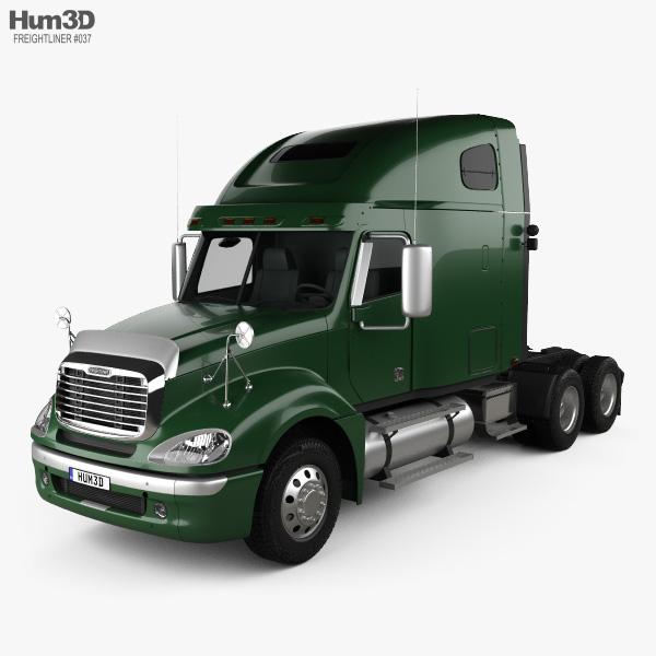 Freightliner Columbia Sleeper Cab Raised Roof Tractor Truck 2009 3D model