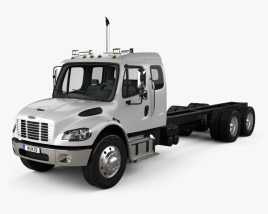3D model of Freightliner M2 Extended Cab Chassis Truck 3-axle 2014
