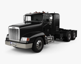 3D model of Freightliner FLD 120 Tractor Flat Top Sleeper Cab Truck 1994