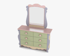 Ashley Doll House Sleigh Dresser & mirror 3D model