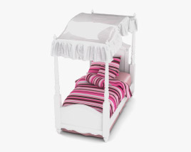 Ashley Exquisite Twin Poster bed 3D model