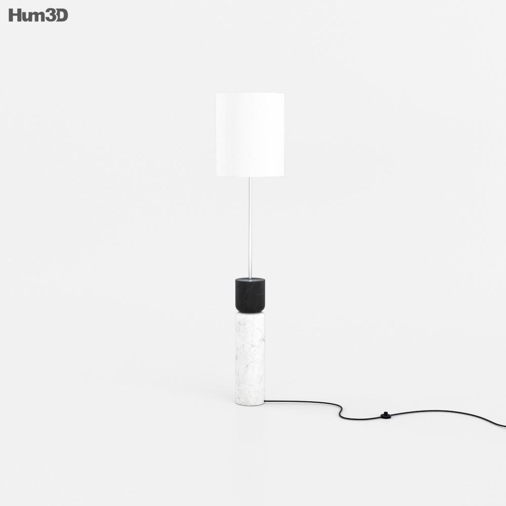 CB2 Stacked Marble Floor lamp 3D model