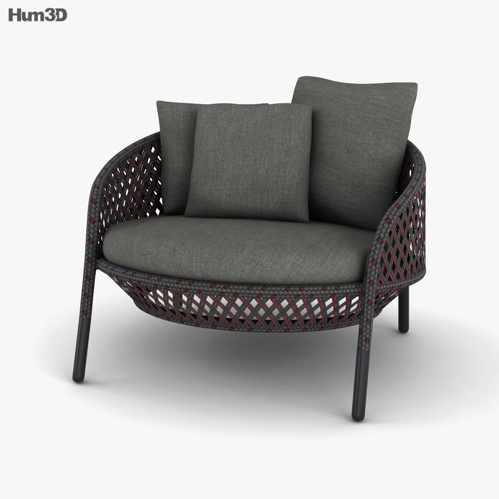 Dedon Ahnda Lounge chair 3D model