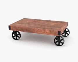 Industrial Cart Coffee Table 3D model