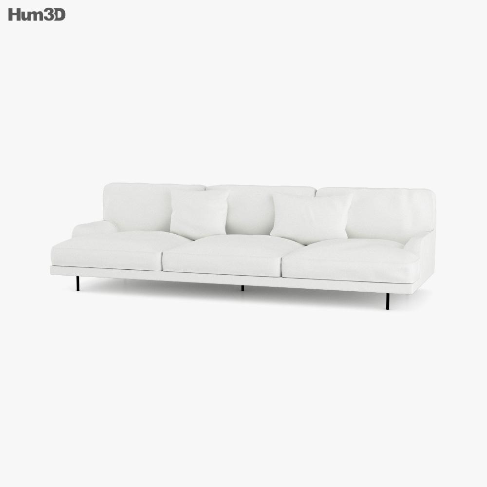 Gubi Flaneur Three Seater Sofa 3d model