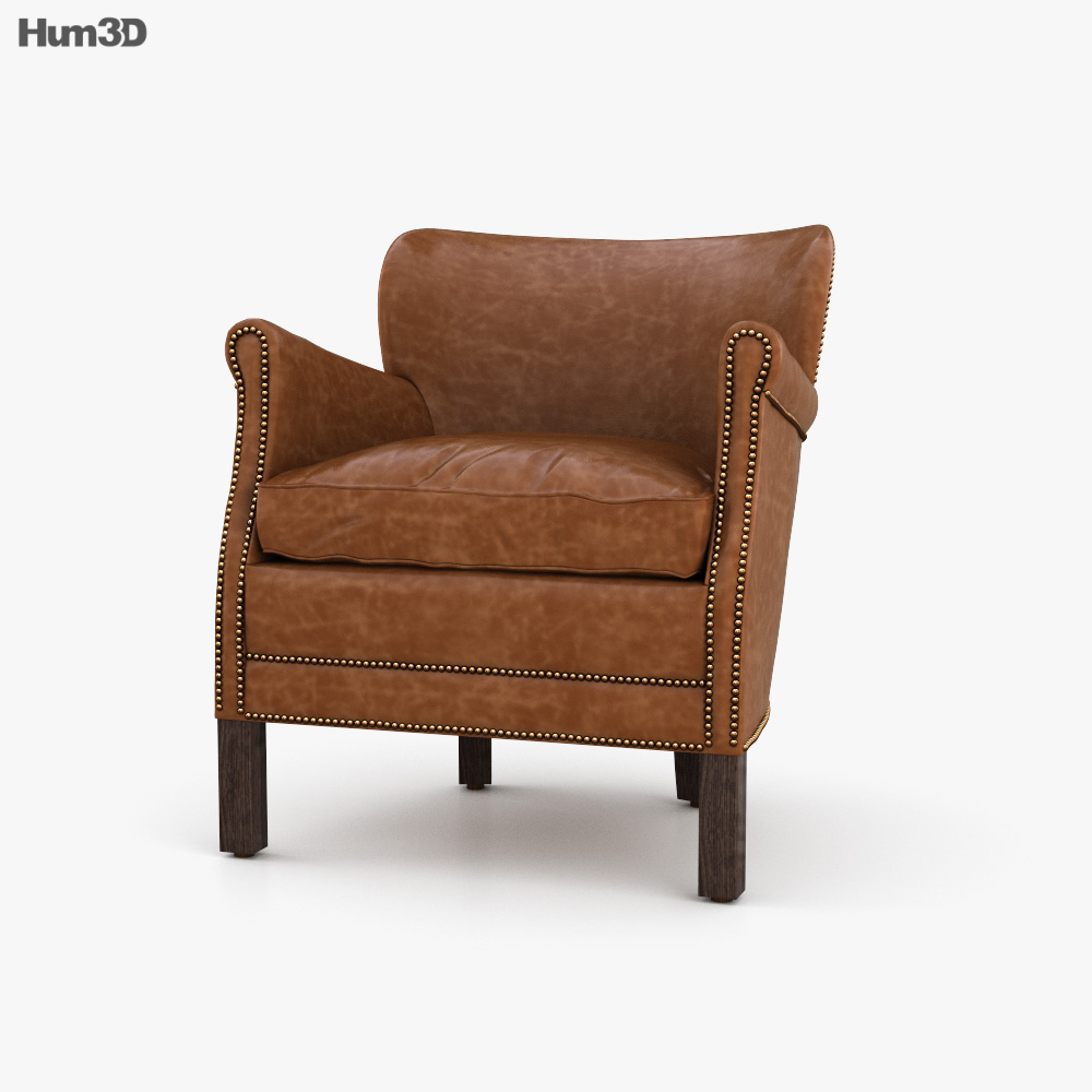 Restoration Hardware Professor 27s Leather chair With Nailheads 3D model