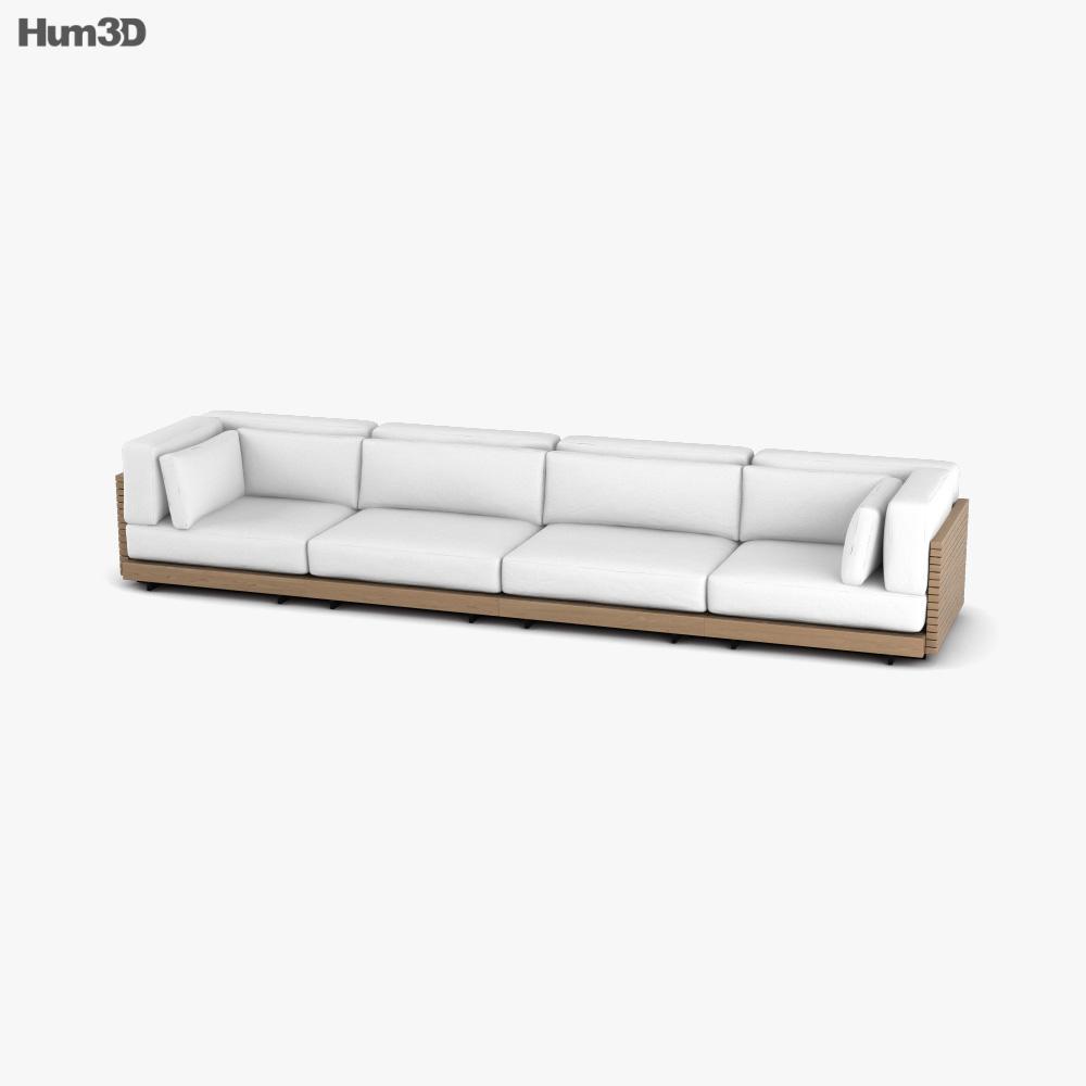Restoration Hardware Caicos Teak Sofa 3D model