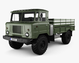 3D model of GAZ 66 Flatbed Truck 1964