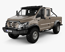 3D model of GAZ Vepr NEXT Double Cab Pickup Truck 2017