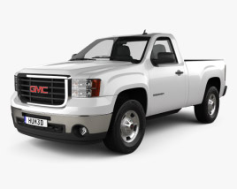 3D model of GMC Sierra Regular Cab Standard Box 2011