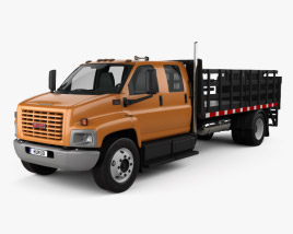 3D model of GMC Topkick C7500 Crew Cab Flatbed Truck 2005
