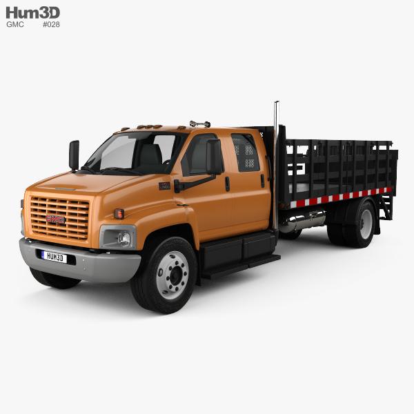 GMC Topkick C7500 Crew Cab Flatbed Truck 2005 3D model