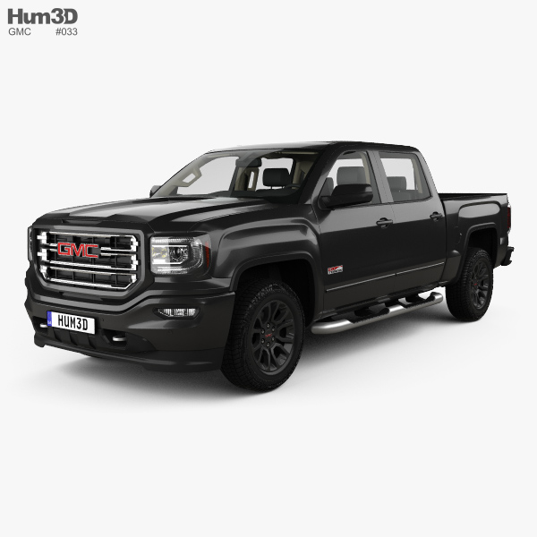 3D model of GMC Sierra 1500 Crew Cab Short Box AllTerrain with HQ interior 2017