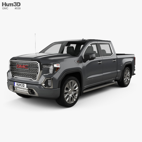 3D model of GMC Sierra 1500 Crew Cab Short Box Denali 2019