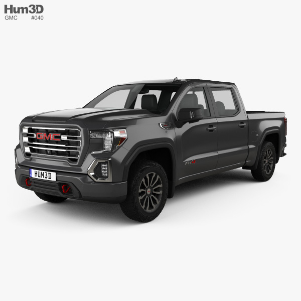 3D model of GMC Sierra 1500 Crew Cab Short Box AT4 2019