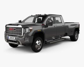 3D model of GMC Sierra HD Crew Cab Long Box Denali DRW 2019