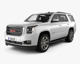 3D model of GMC Yukon SLT with HQ interior and engine 2014
