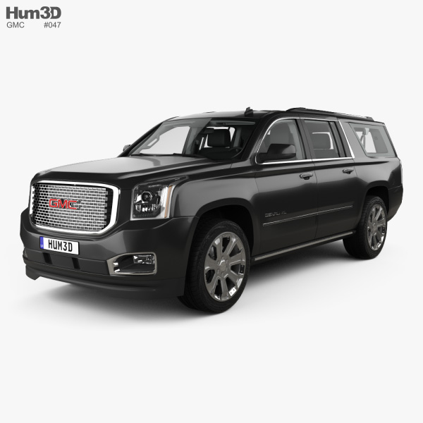 3D model of GMC Yukon XL Denali with HQ interior and engine 2014