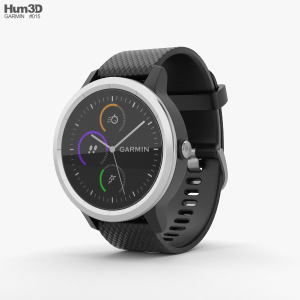 3D model of Garmin Vivoactive 3 Black with Stainless Hardware