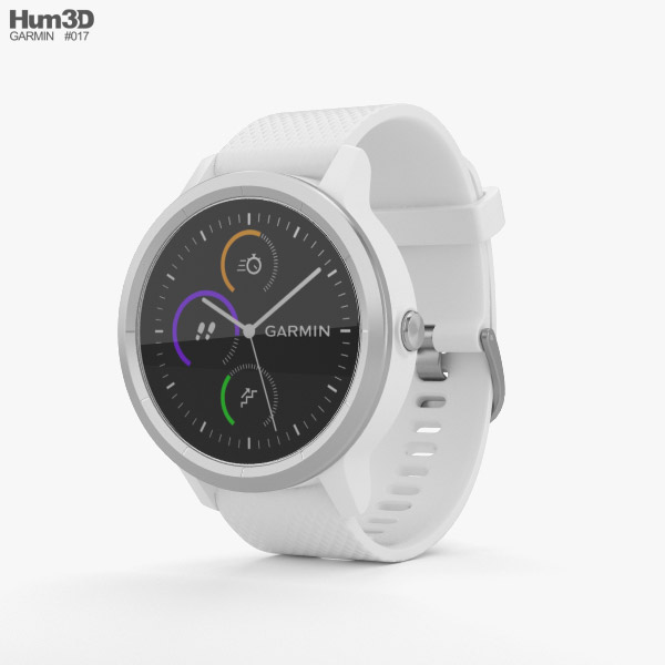 3D model of Garmin Vivoactive 3 White with Stainless Hardware