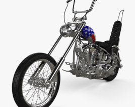 3D model of Harley-Davidson Easy Rider Captain America 1969