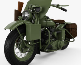 Harley-Davidson WLA 1941 US Army Motorcycle 3D model