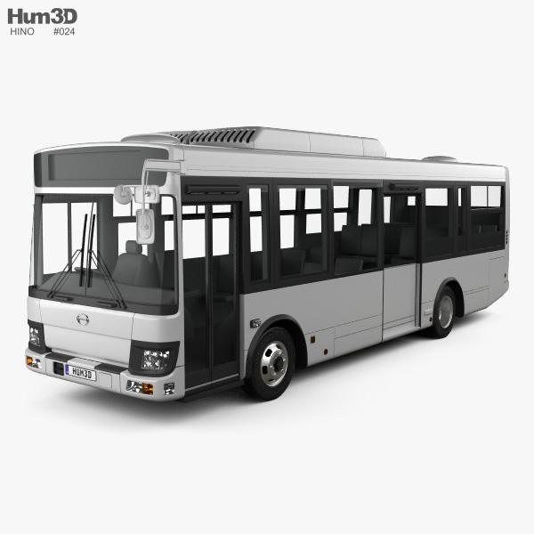 3D model of Hino Rainbow Bus 2016