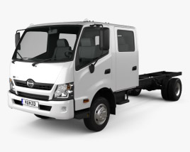 3D model of Hino 300 Crew Cab Chassis Truck 2012