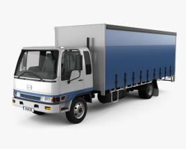 3D model of Hino FD 10 Pallet Curtainsider Truck 2000
