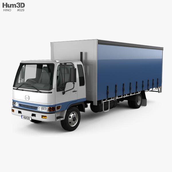 Hino FD 10 Pallet Curtainsider Truck 2000 3D model