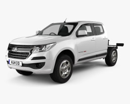 3D model of Holden Colorado LS Crew Cab Chassis 2016