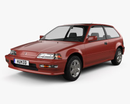3D model of Honda Civic hatchback 1987