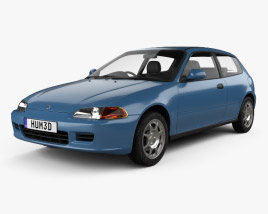 3D model of Honda Civic hatchback 1991