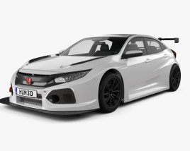 3D model of Honda Civic TCR hatchback 2018