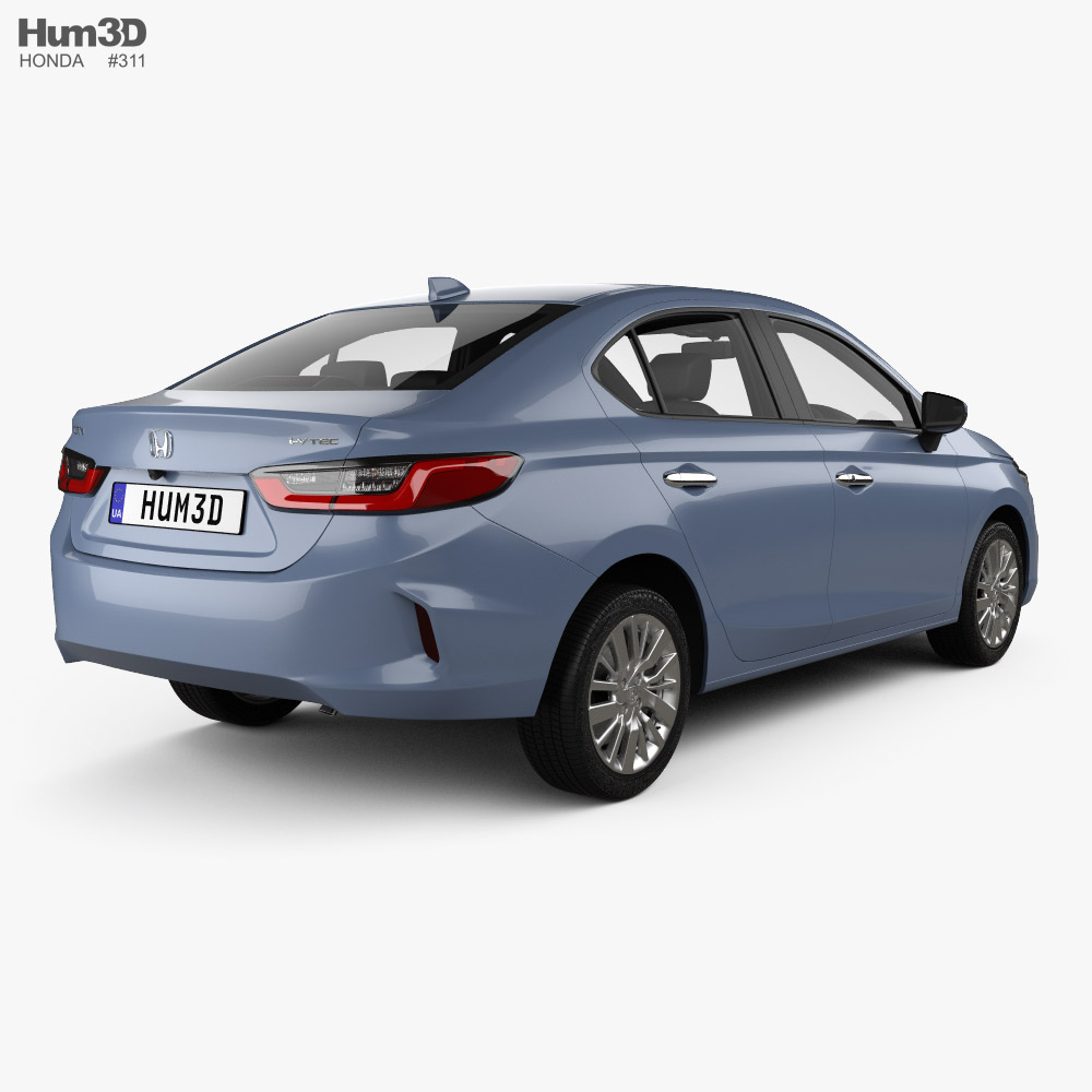 Honda City with HQ interior 2019 3d model back view