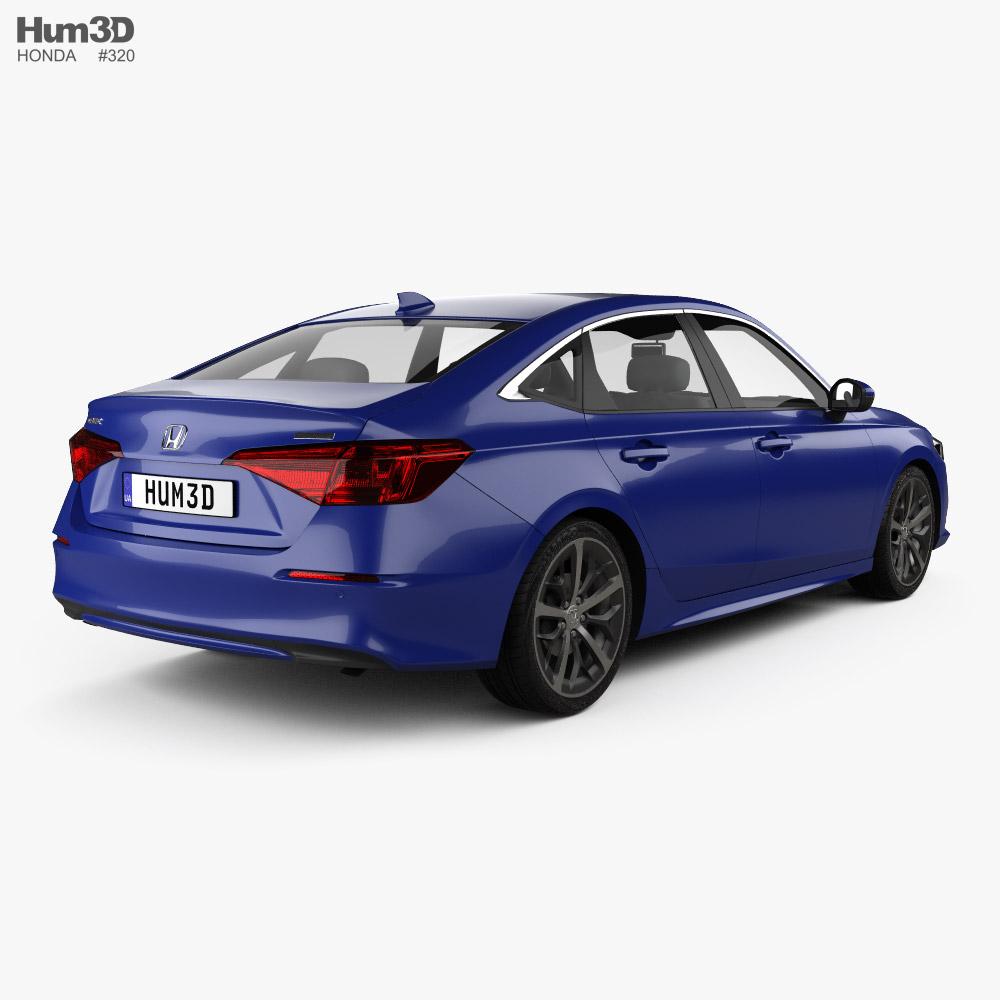 Honda Civic Touring US-spec sedan 2022 3d model back view