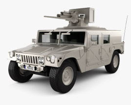 3D model of Hummer H1 M242 Bushmaster with HQ interior 2011
