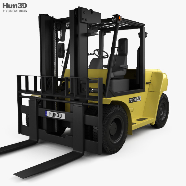 3D model of Hyundai 70DS-7E Forklift 2012